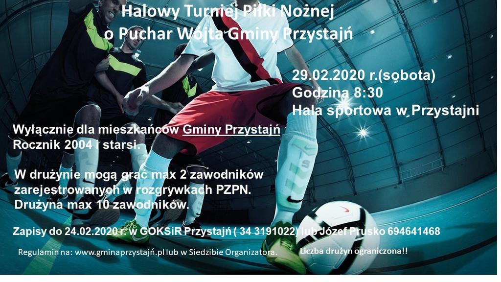 Plakat Halowy Turniej Piłki Nożnej o Puchar Wójta Gminy Przystajń